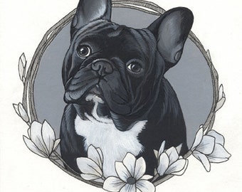 Acrylic paint Drawing of a French Bulldog, A4 size ( 8.3 x 11.7 inches), framed