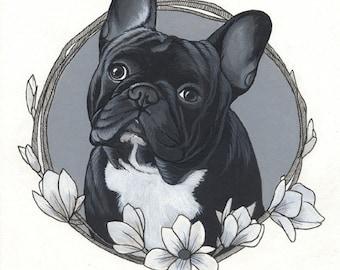 Acrylfarbe gerahmt Zeichnung eine französische Bulldogge, A4-Format (8,3 x 11,7 Zoll),