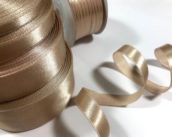 Champagne Gold 1/8 1/4 1/2 1.5 1 in Satin ribbon trim Champagne ribbon Wedding decorations Cake ribbon Gift wrapping Invitation card