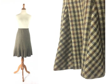 Tweed skirt, Trumpet Skirt, brown skirt, Plaid Skirt, Small Skirt, Vintage Skirt, Vintage Clothing,  skirt