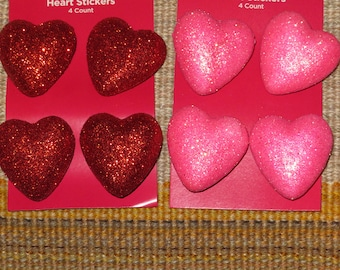 3-D Heart stickers,Glittered,3 dimensional heats,4/pkg, kid's craft,card,Christmas,Valentine's Day