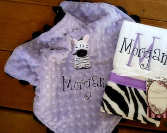 Personalized lovey blanket and burpcloth set- in lavender and zebra print- minky baby lovey blanket