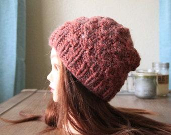 Hand knit beanie/Autumn beanie/soft yarn hat/cozy hand made hat