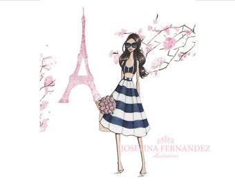 """Fashion illustration print, """"Printemps à Paris"""", Fashion sketch. Fashion art. Paris decor. Paris print. Paris illustration. Eiffel tower art"""