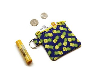 Pineapples zippered change purse, coin pouch, cards bag. Fruit theme gift. Girls stocking stuffer. Under 15 gift.
