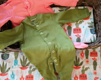 CLEARANCE Ready to Ship Hand dyed cotton sleeper set Newborn and 0-3 month; Newborn gift set; Cactus Baby clothes; Ready to ship baby gift
