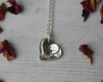 Sterling silver 2 love heart necklace - valentines mothers day gift - xoxo hugs and kisses