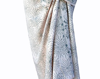 Beach Sarong Wrap Skirt Women's Clothing Batik Pareo Batik Sarong Wrap Skirt or Dress ~ Rosey White & Gray Sea Anemone Beach Cover Up ~ Gift
