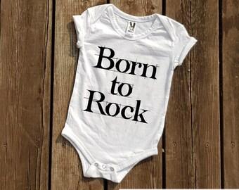 Born to rock baby bodysuit Cool baby bodysuit Cute baby bodysuit cute baby clothing Bodysuits for babies Sayings bodysuits