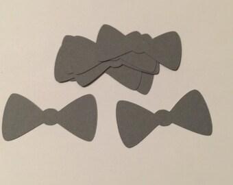 Bow Tie Confetti - 20pcs 3 in Gray Bowtie Die Cuts / Grey Baby Shower Confetti / Party Confetti / Wedding Confetti / Table Decor / Paper Bow