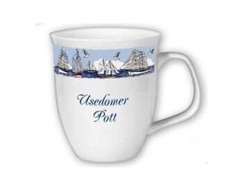 Porcelain pot, cup, coffee pot, Mug Usedom *