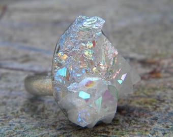 Blue Fire  & Opal Flash Quartz / Faerie Opal Crystal Point Glow Raw Quartz  / Boho Druzy Angel Aura Crystal Ring