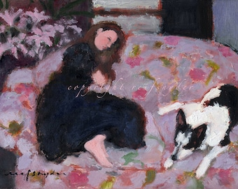 Greeting card 5x7 girl and dog, figures, pets, children, couch, people, pink, lavender, best friends, blank, black and white dog