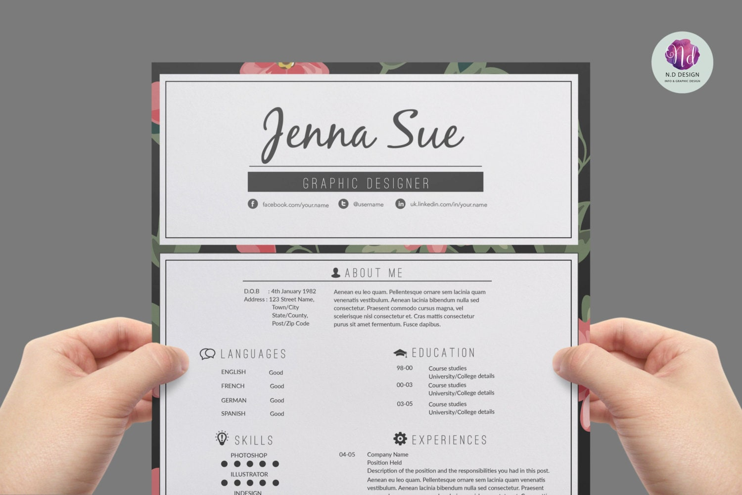 Resume template / CV template cover letter template
