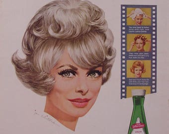 1963 Janet Leigh Lustre Creme Shampoo Jon Whitcomb Art Print Ad Bathroom Art Beauty Shop