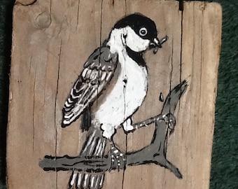 Driftwood chickadee original painting