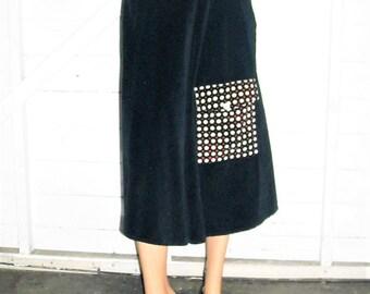 Black Velvet Skirt With Polka Dot Pocket Sz 6