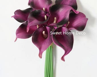 """3JennysFlowerShop 15"""" Latex Real Touch Artificial Calla Lily 10 Stems Flower Bouquet for Wedding/ Home Royal Purple"""