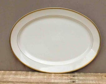 """Syracuse China Monticello Old Ivory, Oval Serving Platter Old Ivory 16 x 12"""" Large,Vintage"""