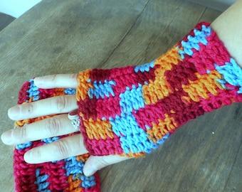 The Sunrise Crochet Fingerless Gloves Autumn Handmade Arm Warmers Fingerless bohochic folk autumn Gloves Mid length arm warmer made to order