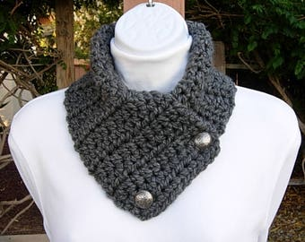 Solid Charcoal Gray NECK WARMER SCARF with Silver Metal Buttons, Extra Soft 100% Acrylic Crochet Knit Buttoned Cowl..Ready to Ship in 2 Days