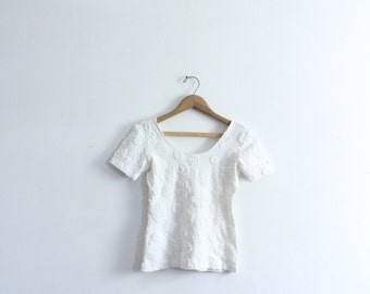 White 90s Embossed Daisy Top