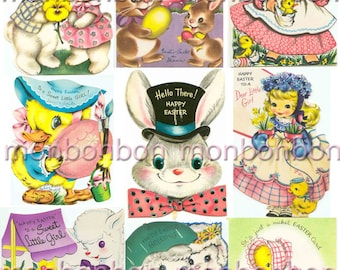 Vintage Retro Easter Cards Digital Collage Sheet - INSTANT DOWNLOAD