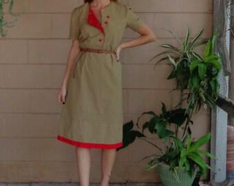 Vintage Midi Dress / Khaki Red Pipinf / Button Down  / Small Medium / 80's