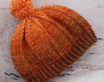 Knit Pom Pom Hat Merino Bulky Gradient Read To Ship Free Shipping