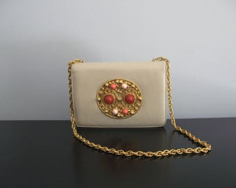 Morris Moskowitz purse - vintage 60s cream beige leather 3D gold appliqué pink marble chain strap small handbag party evening baroque bag