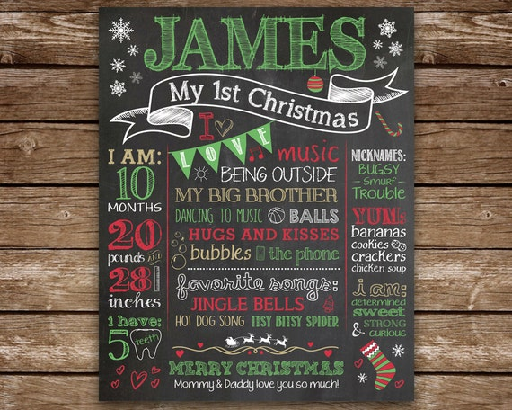 Items Similar To First Christmas Chalkboard Sign, Baby's