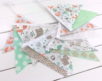 Woodland Nursery Decor Bear Baby Boy Banner Bunting Garland Baby Shower Fabric Bunting Fox Deer Mint Green Gray Beige Bears