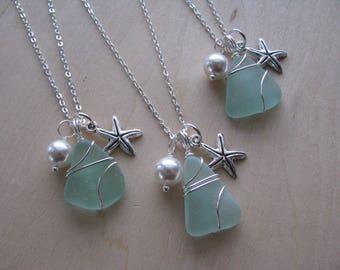 Aqua Green Sea Glass Jewelry Sea foam Sea Glass Necklace Real Beach Glass Wedding Jewelry Starfish