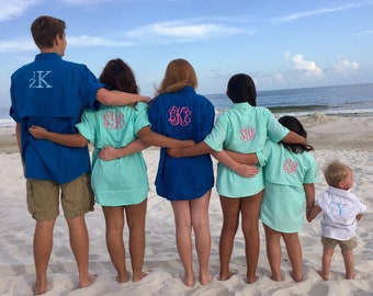 Monogrammed Fishing Short Sleeve Shirts--  For The ENTIRE FAMILY---Custom order any size