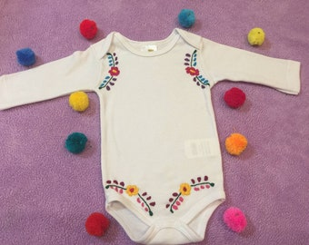 Mexican baby bodysuit hand embroidered white bodysuit size 6 months
