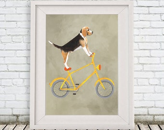 Beagle Print, Beagle Artwork, Beagle Art, Beagle Dog, Beagle Custom Pet Print, Beagle Lover, Beagle Gift, Beagle on bicycle