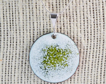 Olive Green Pendant / Green Abstract Copper Enamel Pendant / green strand necklace / enamel necklace / copper enamel jewelry / gift for her