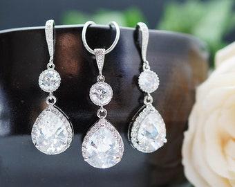Luxury cubic zirconia Bridal Earrings Necklace set Wedding Jewelry set Bridesmaid gift Set Crystal Jewelry Bridal Party Gift Crystal Jewelry