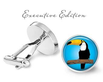 Toucan Cufflinks - Toucan Bird Cuff Links - Tropical Bird Cufflink - Toucan Wedding Cufflinks (Pair) Lifetime Guarantee (S0663)