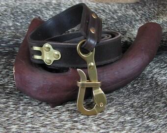 Pelican Hook Leather Belt in Chocolate Water Buffalo