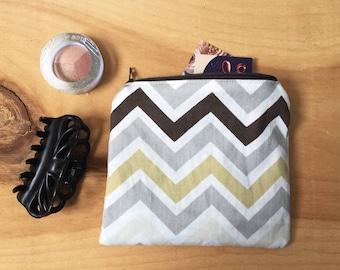 Chevron Coin Pouch - Zipper Pouch - Credit Gift Card Holder, Modern Coin Pouch, Colour Block, Guys Gifts, Neutral, Wallet, Change Purse