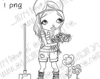 INSTANT DOWNLOAD Big Eye Female Gardener Digital Stamp - Ginny the Gardener Image No.386 by Lizzy Love