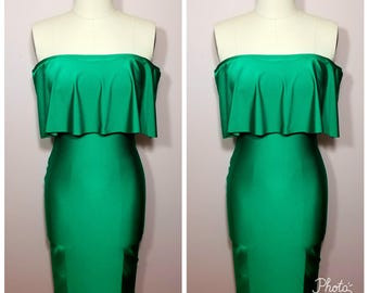 """Off shoulder """"GEM"""" ruffle midi bodycon dress...MANY colors available"""