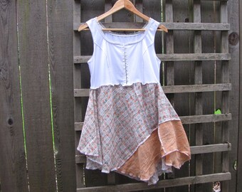 Upcycled Floral Grunge Lagenlook Babydoll Tunic Top/Sweet Romantic Asymmetrical Eco Blouse/ Boho Prairie Womens Shirt Size S M