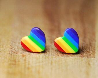 Rainbow Stud Earrings - LGBT Polymer Clay Earrings - Hypoallergenic Earrings For Sensitive Ears - Heart Shaped Earrings - Nickel Free