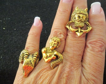 Vintage 1960's Gold ZODIAC rings>>only 3 left!! New old stock, never worn