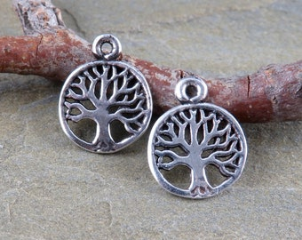 Charms - Tiny Sterling Silver Tree Of Life -Findings -Jewelry Making Supplies - Bohemian Findings - Silver Charms - Artisan Silver - TR4