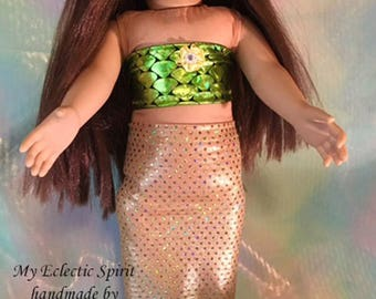 Mermaid Costume & Top; American Girl Mermaid Costume, mermaid outfit,  Fits all 18 inch dolls-handmade 18 doll Mermaid Tail