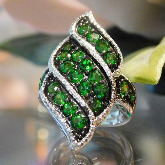 Russian Chrome Diopside Diamond Ring / Siberian Emerald / Size 5 / Sterling Silver / 2.5 ctw / Pave / Cluster / Statement