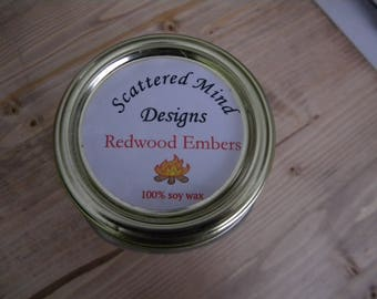 Redwood embers 100% soy wax candle